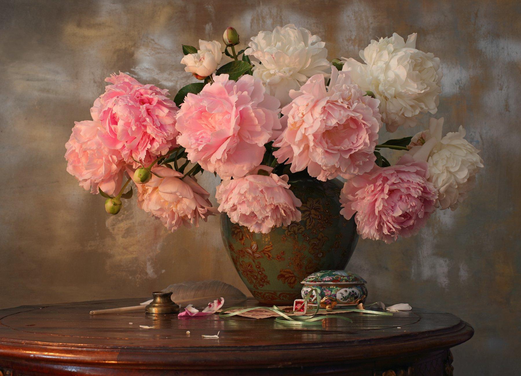 цветы, пионы, букет, ваза, Морозов Андрей