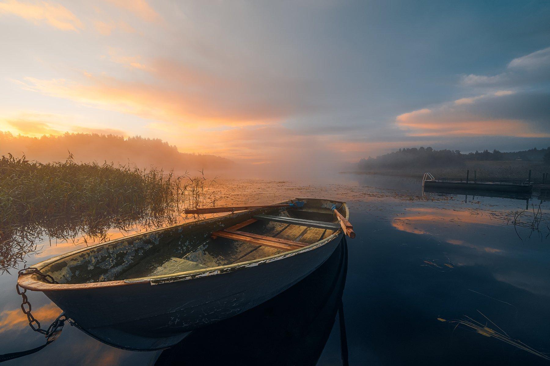 лодка, карелия, республика карелия, рассвет, туман, небо, озеро, пейзаж, россия, sunrise, lake, boat, Мазурева Анастасия