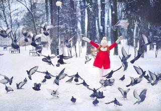 девушка, рыжая, снег, счастье, улыбка, снежинки