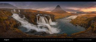 Kirkjufell mountain and falls. Snæfellsnes Peninsula, Iceland. February 2017. Panoramic
