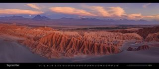 Valle de la Muerte and Licancabur Volcano, Atacama desert, Chile. November 2015. Panoramic