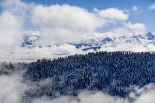 Эти протяженные горные хребты расположены на сопредельных территориях Казахстана и Киргизии