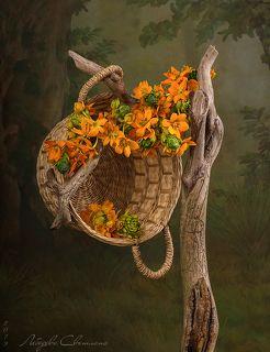 С цветами и корзинкой