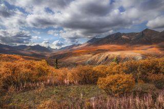 Вид на золотую долину и гору Тумбстоун вдали  с Dempster highway (грунтовая дорога на Аляску протяженностью в 700 км). Усыпанная острым щебнем трасса. Рекомендуется везти с собой две запаски. ибо шиномонтаж находится далековато
