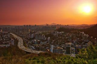 закат, Сеул, гора Ансан