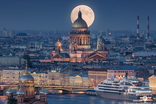Saint Isaac\'s Cathedral or Isaakievskiy Sobor in Saint Petersburg, Russia is the largest Russian Orthodox cathedral (sobor) in the city. It is dedicated to Saint Isaac of Dalmatia, a patron saint of Peter the Great, who had been born on the feast day of that saint.
