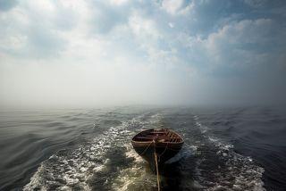 A boat in fog
