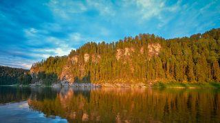 На закате у реки Вишера.
