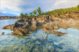 Острые лавовывые берега и теплая водичка создают идеальные условия для жизни морских ежей и морских растений.