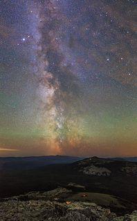 Млечный путь над хр. Нургуш, Урал Вертикальная панорама из 4 кадров