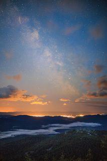 Млечный путь над ночными огнями Белорецка