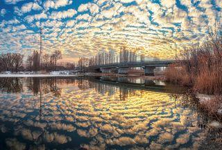 Весенний закат на реке Усманке