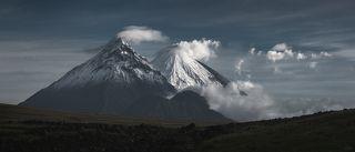 Россия : Камчатка : вулканы: Безымянный, Камень, Ключевской