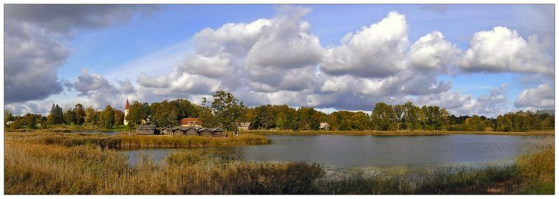 осень,озеро осенняя панорамаphoto preview