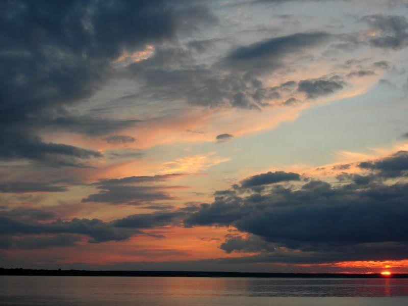 закат, солнце, река, небо, облака ***photo preview