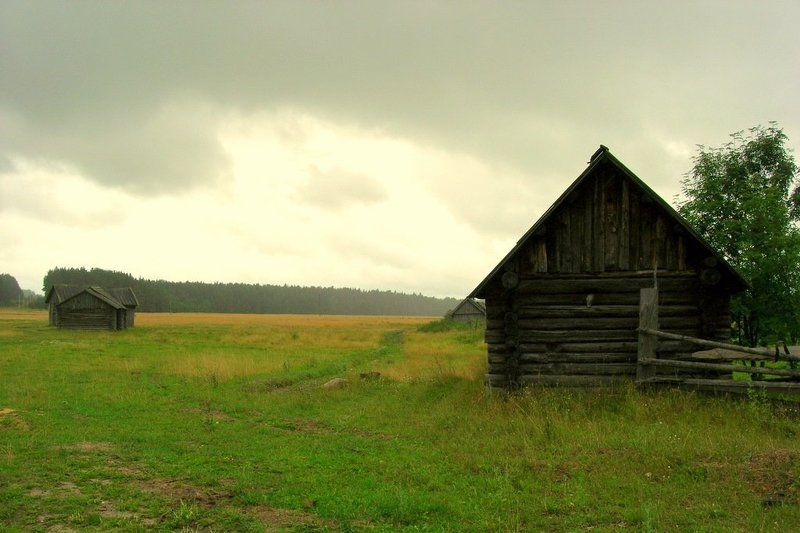 деревня, луг, поле, трава, дом, небо ***photo preview