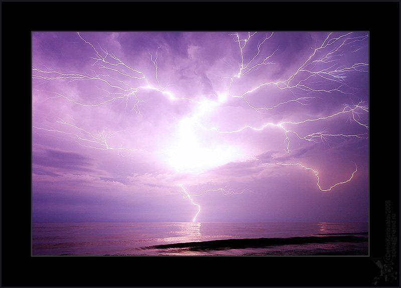 свет, молния, море, дерево, шторм \