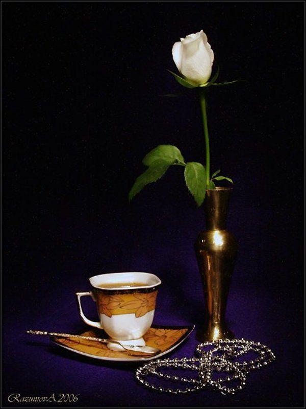 Натюрморт, световая кисть, чай, роза Вечерний чайphoto preview