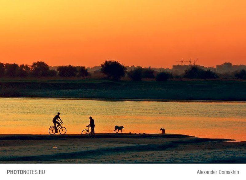 вечер, Кубань, город, пейзаж, PHOTONOTES.RU, река, Краснодар, силуэты Вечернееphoto preview