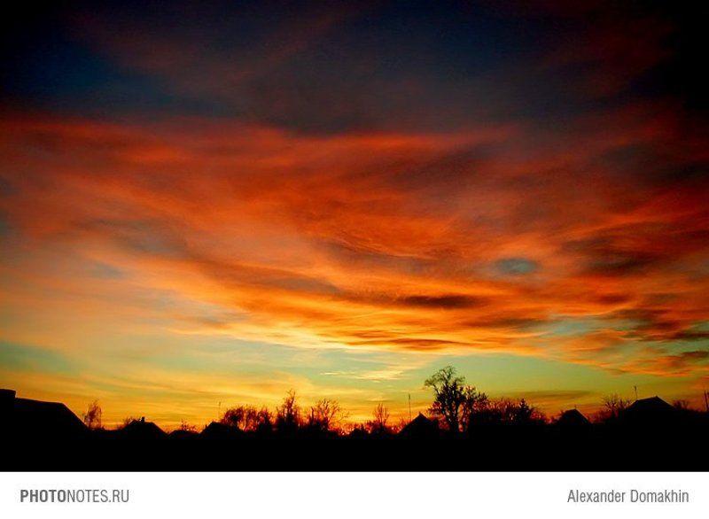 Закат, силуэты, Кубань, небо, PHOTONOTES.RU Вечернееphoto preview