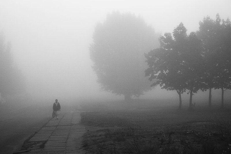 утро, туман, бабушка ***photo preview