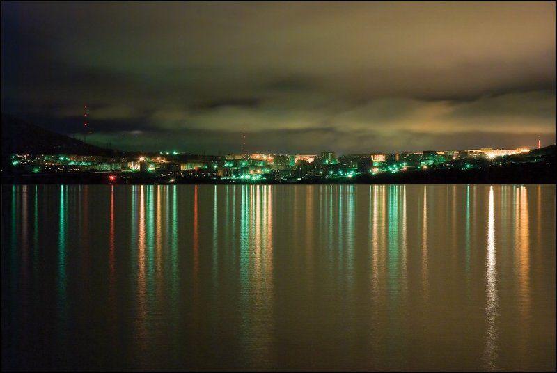 магадан, нагаева, ночь Огни Нагаевской бухтыphoto preview