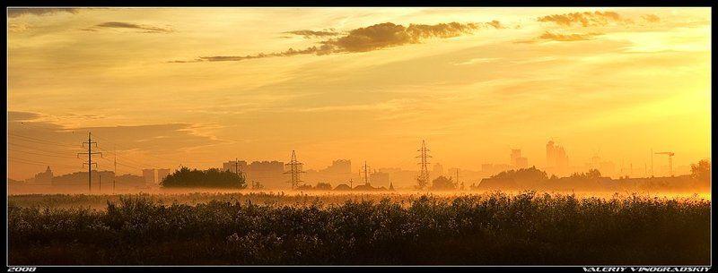 рассвет утро город туман Урбанистический рассветphoto preview