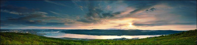 кольский полуостров, залив, закат Закат над Кольскимphoto preview