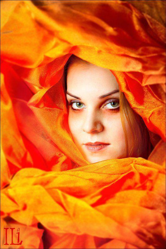 девушка, цвет, красный, синий, ткань Цветphoto preview
