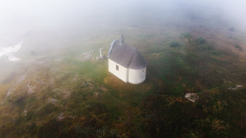 landscape,fog,misty,church,drone The Holy Churchphoto preview