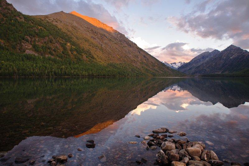 Алтай, озеро, вечер, закат, горы, мультинские, лето Мультинский закатphoto preview