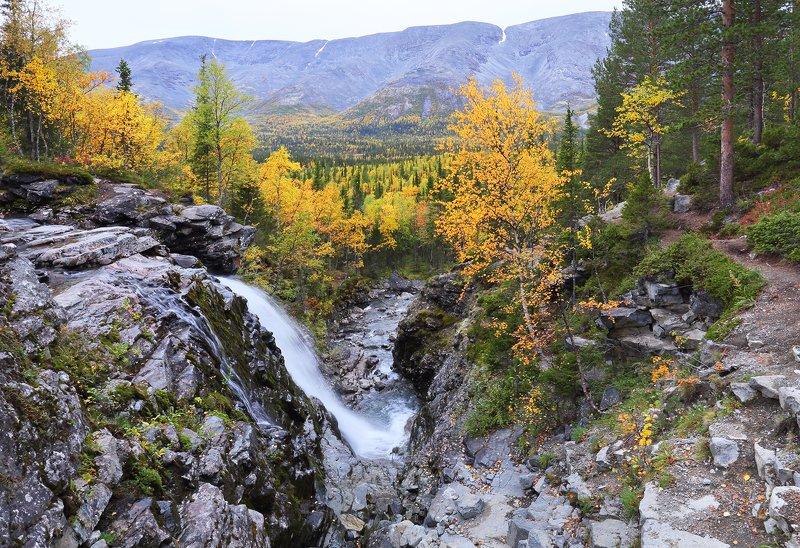 кольский, север, заполярье, хибины Водопад на реке Рисйокphoto preview