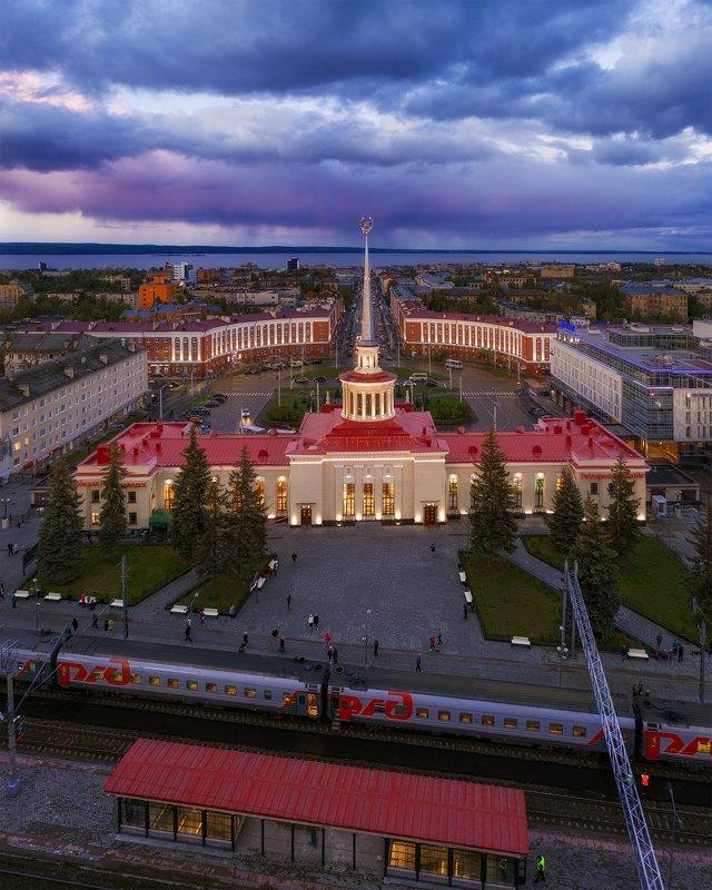 аэросъемка, карелия, петрозаводск, архитектура, пейзаж Площадь Гагарина, Петрозаводскphoto preview