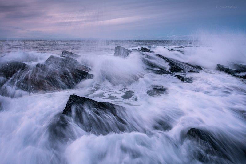 кольский, закат, море, камни, Графика стихии...photo preview
