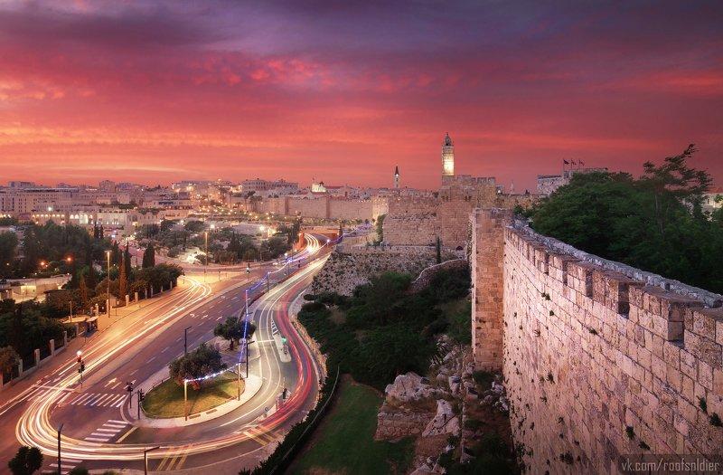 Иерусалим, Израиль, Палестина, Старый Город, Архитектура, закат, рассвет, город, пейзаж, открытка, крыша, architecture, urban, sunset, sunrise,old city, jerusalem, israel, palestine, colorful, red, long exposure, tower Jerusalem sunsetphoto preview