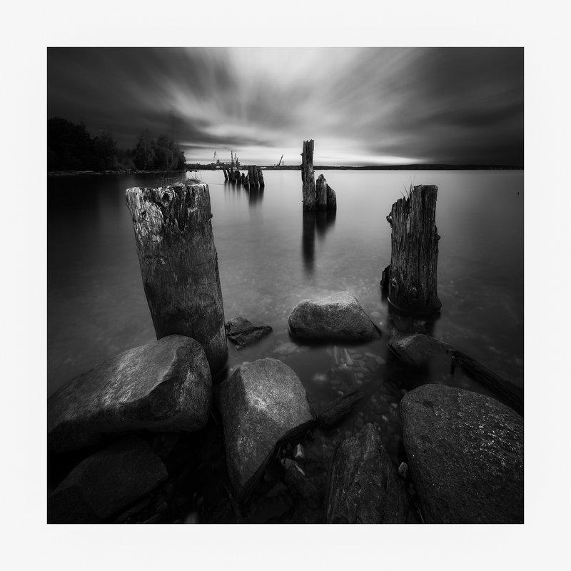 Черно-белое, пейзаж, длинная выдержка Береговая линияphoto preview