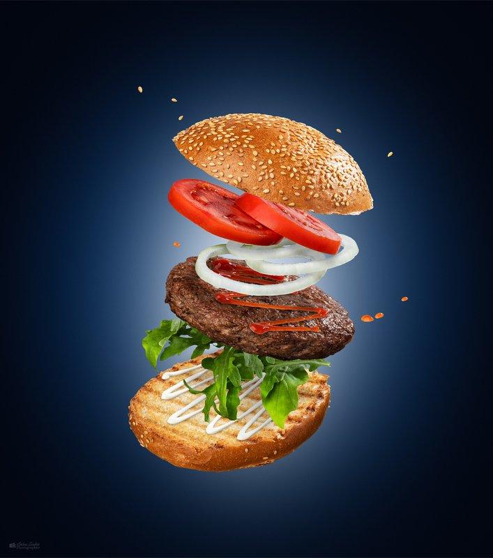 гамбургер фуд левитауия Гамбургер в воздухеphoto preview