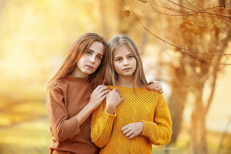 осень, autumn, портрет, сестры, девочки, people, 105mm, kid, children, beautiful, magik, волшебство ***photo preview