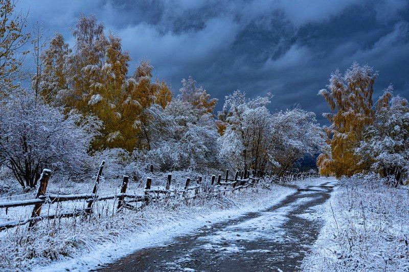 алтай. осень. горы. Дорога в зиму. фото превью