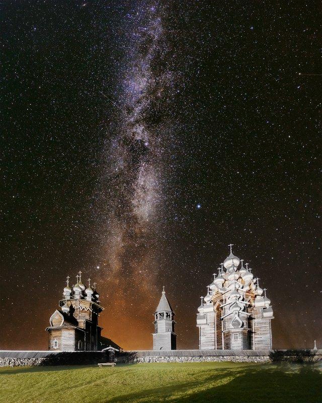 Астрофотография, природа, пейзаж, карелия Кижский погост под сентябрьским небомphoto preview