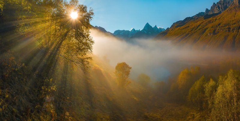 горы, гора, домбай, рассвет, солнце, осень, гоначхирском ущелье, туманлы-кель, озеро, тебердинский государственный природный биосферный заповедник, кавказ, хребет, вершина,  берёза, осенний, туман, туманный, лучи, дерево, чотча, Акварельная осеньphoto preview