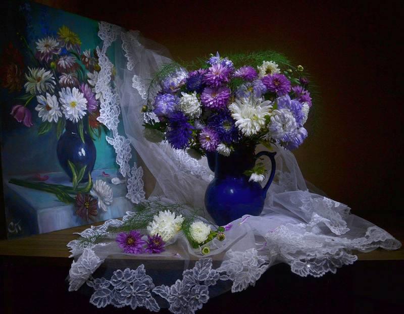 still life, натюрморт, цветы, фото натюрморт, октябрь, астры, картина, маслом, настроение, осень Этих звезд многоцветье в душе...photo preview