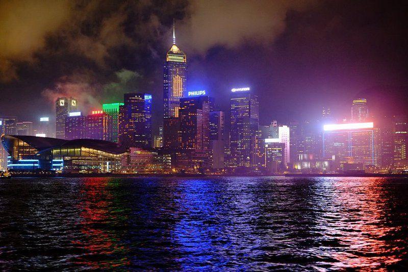 ночь, город, огни Hong Kong ( ночью )photo preview