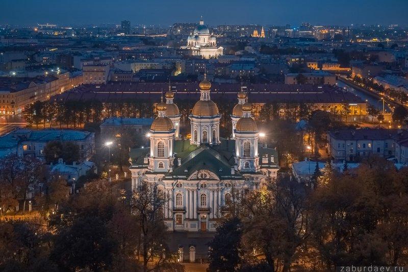 россия, петербург, осень, вечер, собор, дрон Никольский и Троицкийphoto preview