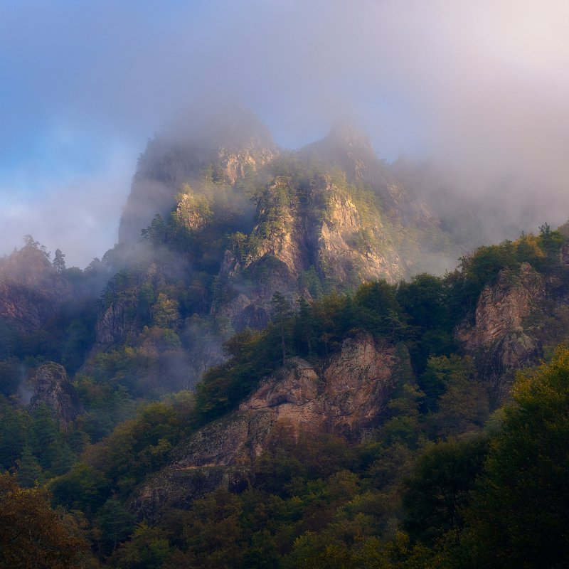 Утренний туман на склонахphoto preview