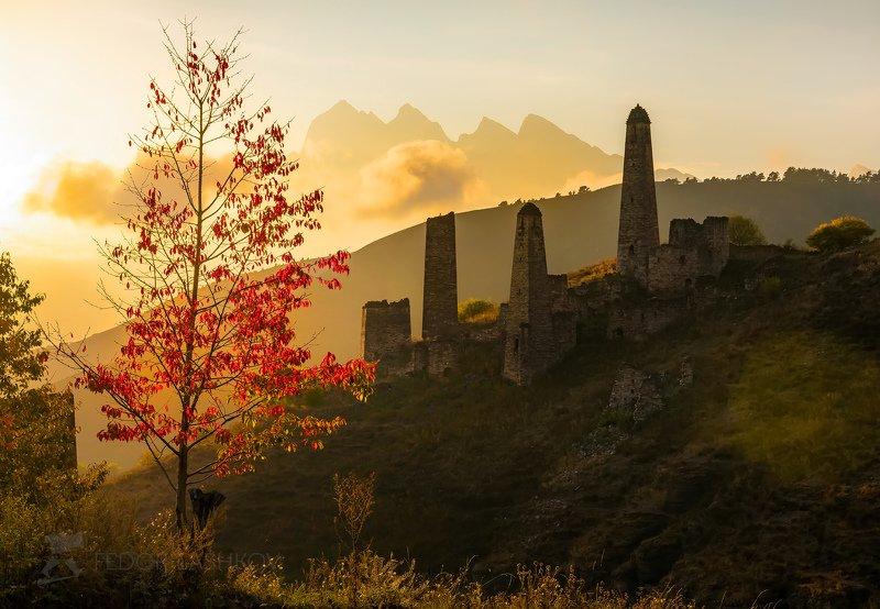 горы, кавказ, ингушетии, пялинг, башни, осень, дерево, красное, закат, солнце, башенный комплекс, цей-лоам, горы, скалы, Осеннее фэнтезиphoto preview