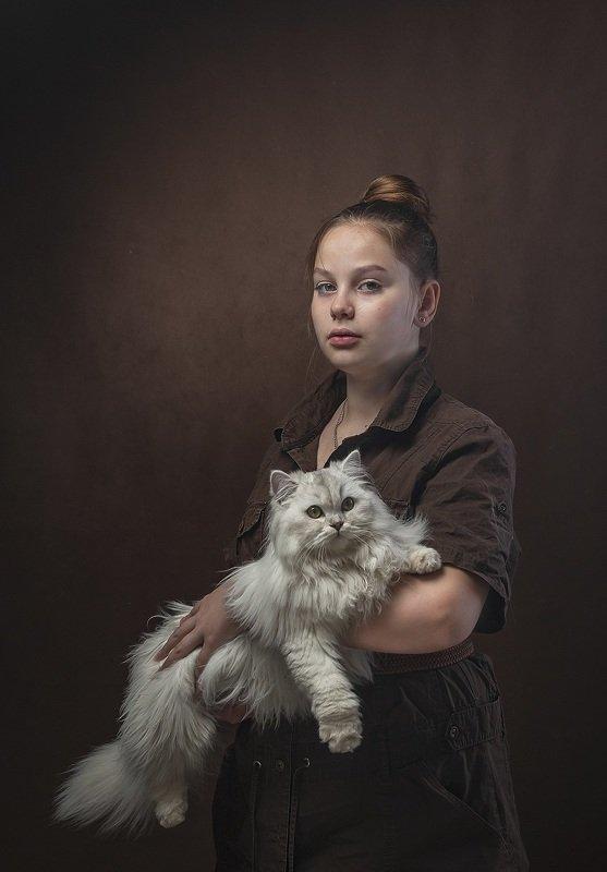 девочка, кошка Девочка с кошкойphoto preview