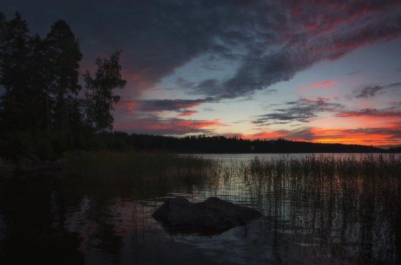 выборг, монрепо, пейзаж Поздний вечер августаphoto preview