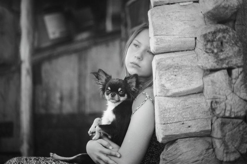 лето дети собака монохром жанр Минутка грустиphoto preview