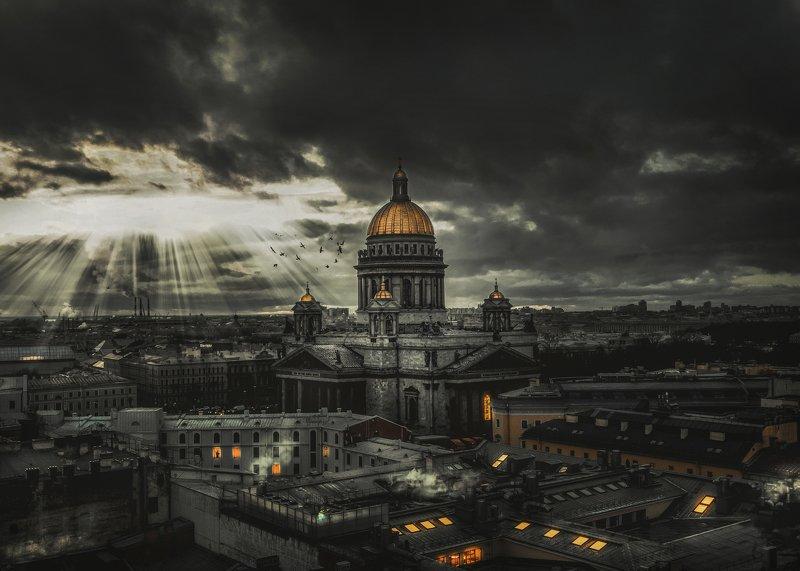 Питер аэрофотосъёмка дрон храм Россия  Город на Неве photo preview